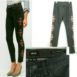 BDG Embroidered High Rise Skinny Ankle Jean Tribal